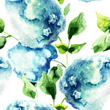 Seamless pattern with Hydrangea blue flowers