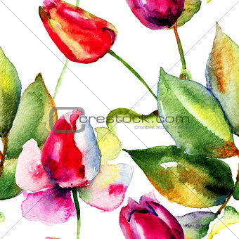 Watercolor illustration with Tulips and Roses