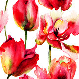 Seamless wallpaper with Tulips flowers