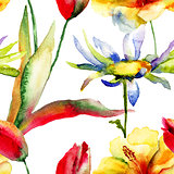 Watercolor painting of Tulips and Lily flowers