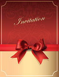 Vintage Invitation card with Bow. Retro Background.