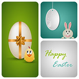 Happy Easter decoration made from white paper