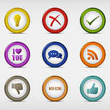 Set of colored round web icons template