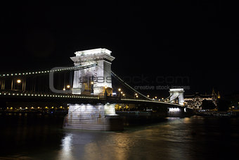 Chain Bridge over Danube river, Budapest cityscape