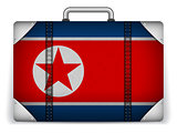 North Korea Travel Luggage with Flag for Vacation