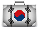 South Korea Travel Luggage with Flag for Vacation