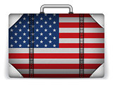 USA Travel Luggage with Flag for Vacation