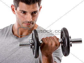Athletic man making exercise
