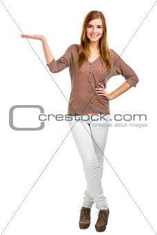 Blonde woman showing something