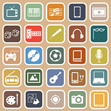 Entertainment flat icons on orange background