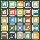 Real estate flat icons on green background