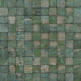 3d square mosaic tiled green grunge pattern