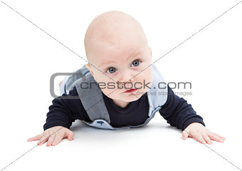 baby crawling on white floor