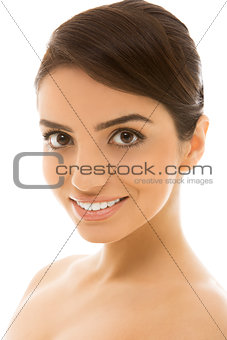 Skincare. Beautiful, natural girl with cute smile