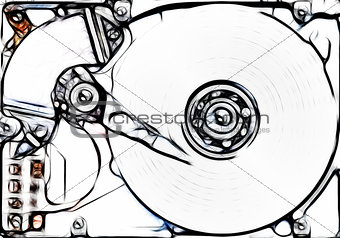 sketch of the hard disk