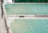 Empty basketball field