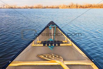canoe bow on lake