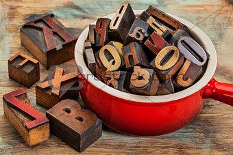 pot of letterpress wood type