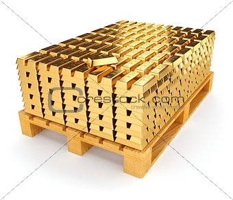 Pallet with bullion of gold