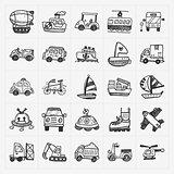 doodle transport icons set