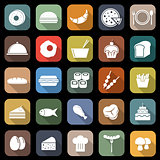 Food flat icons with long shadow