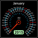 2015 year calendar speedometer car in vector. January.