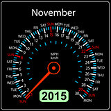 2015 year calendar speedometer car in vector. November.