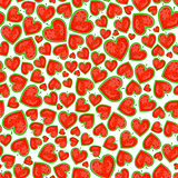 Seamless Pattern With Watelmelons In Heart Shape