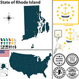 Map of state Rhode Island, USA