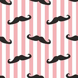 Vector pattern with black gentleman mustaches on stripes white and pink background.