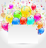 Birthday card with multicolored balloons and confetti