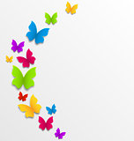 Abstract spring background with rainbow butterflies