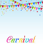 Carnival background with flags, confetti, text