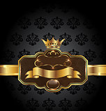 Vintage golden emblem on black floral background
