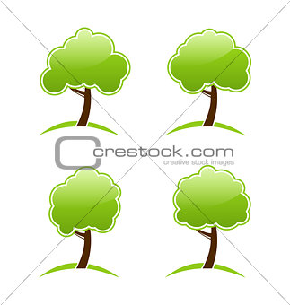 Abstract green various icons trees