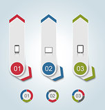 Set paper labels with gadgets infographic icons