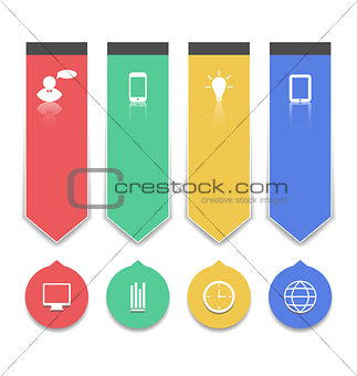Group paper labels with infographic icons