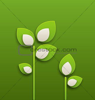 Abstract paper green plants, ecology background
