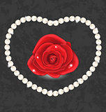 Red rose with heart made in pearl