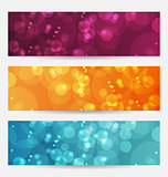 Set of abstract banners with bokeh effect