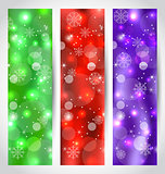 Set Christmas glossy banners with snowflakes
