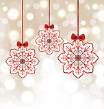 Winter decoration with snowflakes and bows