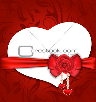 Card heart shaped with silk bow and red rose for Valentine Day