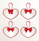 Set elegance cards heart shaped with silk bows for Valentine Day