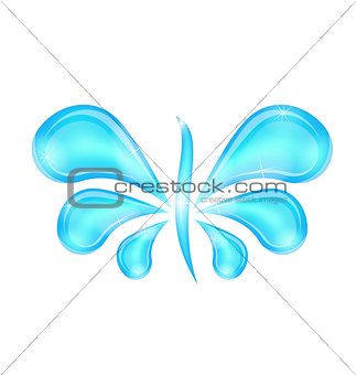 Abstract butterfly stylized water splash drops