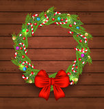 Christmas holiday decoration on wooden background