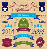 Christmas set - labels, ribbons and other decorative element