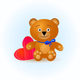 Cute Bear Kid Toy with Pink Heart
