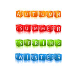 Set of Seasons Winter Spring Autumn Summer Cube Icons