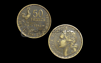50 French francs coin